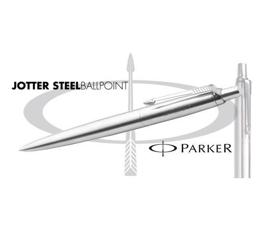 kugelschreiber parker jotter steel mit gravur werbeartikel mit logo. Black Bedroom Furniture Sets. Home Design Ideas