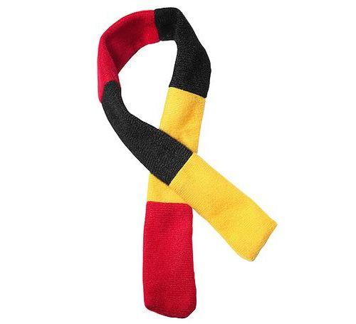 Fanschal plüschtier klein schwarz rot gelb bedrucken