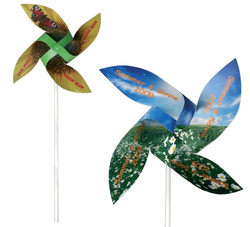 Windspiel papier windmühle bedrucken werbeartikel mit logo