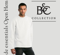 B&C Herren Sweater Open Hem White